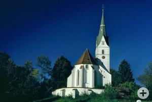 Marienwallfahrtskirche in Pfärrich vor blauem Himmel