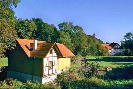 Blick auf das Sägewerk Hagmühle